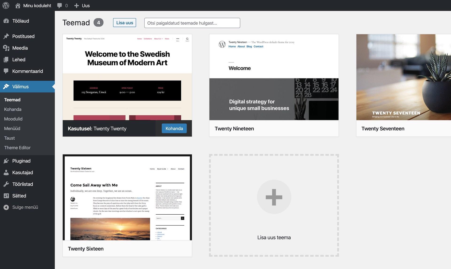 Kodulehe tegemine WordPress põhjal, teema valimine