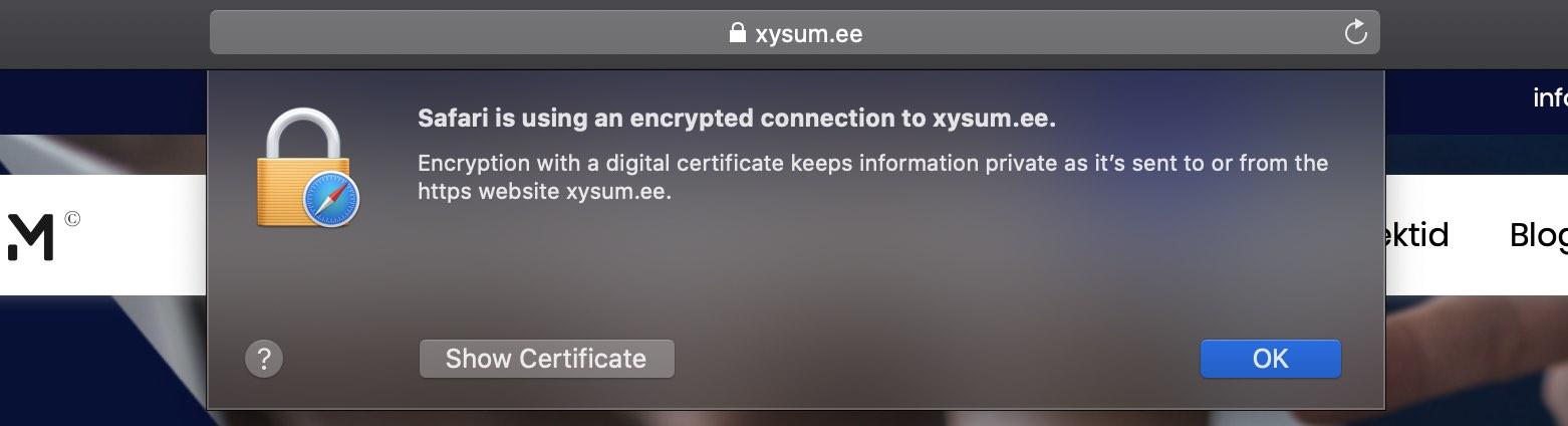 Kodulehe tegemine, SSL sertifikaat Safari brauseris