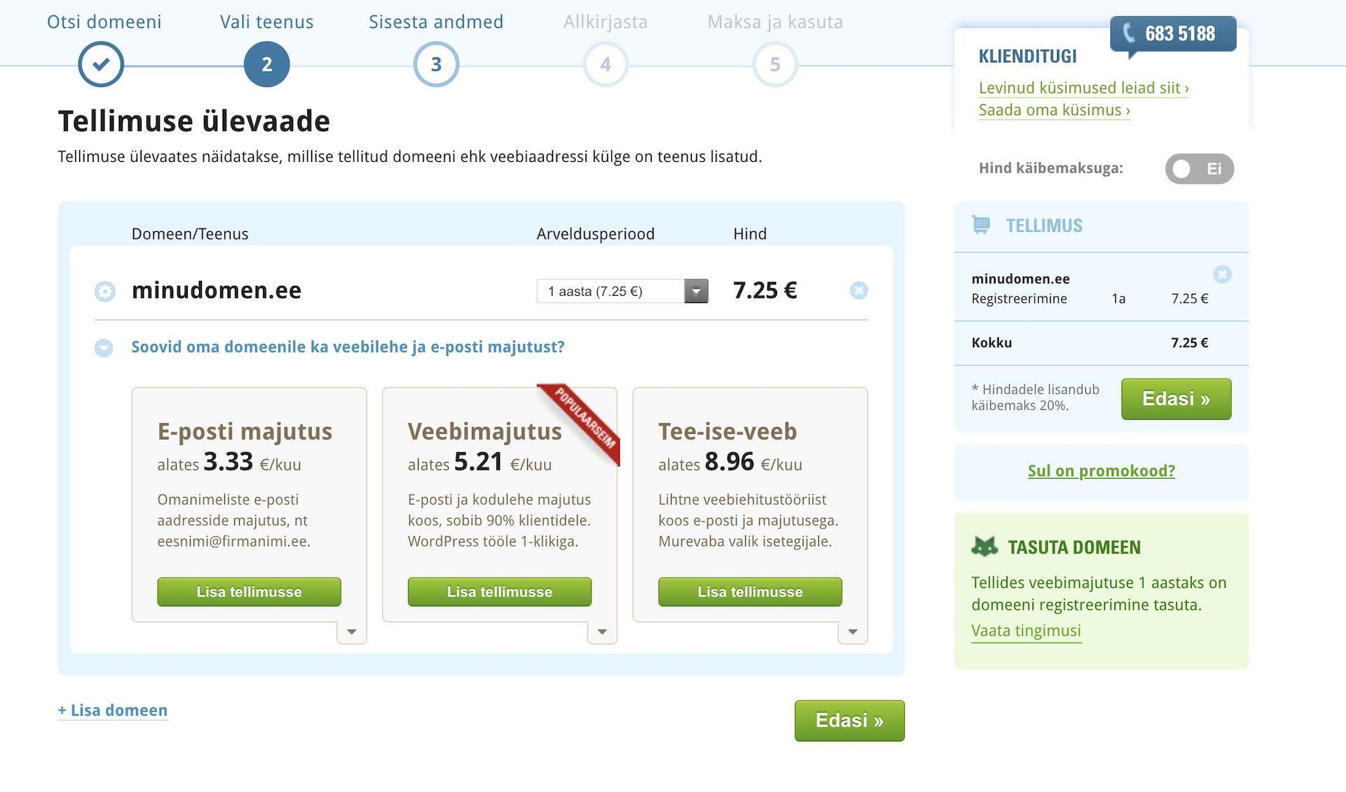 Kodulehe tegemine, veebimajutuse paketi valimine domeeni jaoks