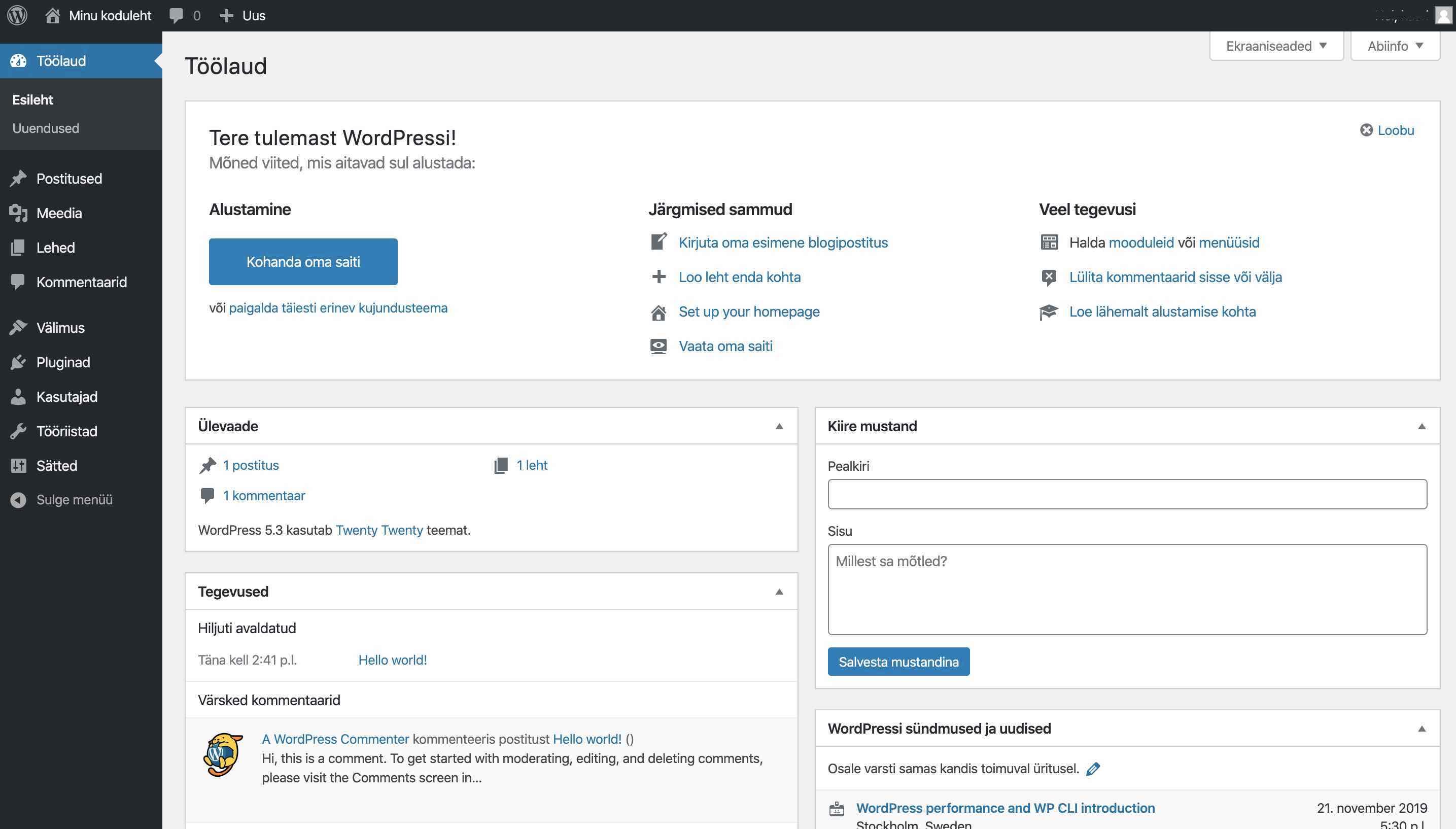 Kodulehe tegemine WordPressiga, WordPress töölaud